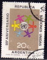 ARGENTINA 1970 ONU UN UNITED STATES 25th ANNIVERSARY CENT. 20c USATO USED OBLITERE' - Usati