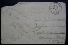 Maroc 1936 Escadre Aérienne Du Nord Maroc, Cachet Sur Carte Postale Abimée - Lettres & Documents