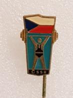 Epinglette Fédération Tchécoslovaque D'haltérophilie - Pin Label Czechoslovakian Weightlifting Federation - Gewichtheben - Gewichtheben