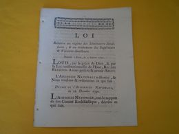 Louis XVI 1791: Traitement Des Vicaires Supérieurs & Des Vicaires Directeurs Des Séminaires Diocésains;organisation - Gesetze & Erlasse