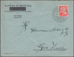Firmenlochung Rheinland Auf Brief Alfred H. Schütte Werkzeuge Köln-Deutz 31.5.26 - Non Classés