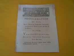 Proclamation Du Roi Louis XVI 1790: Droit De Faire La Paix & La Guerre; Sur Décret De L'Assemblée Nationale - Gesetze & Erlasse