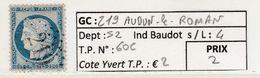 GC 219 Audun-le-Roman ( Dept 52 ) S / N° 60C - Marcophily (detached Stamps)