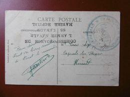 GRIFFE CACHET CORRESPONDANCE DE L ARMEE NAVALE SS CANADA NAVIRE HOPITAL - Marcophilie (Lettres)