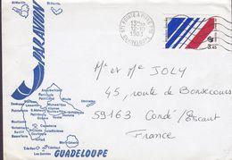 Guadeloupe Map Landkarte Cachet Par Avion POINTE A PITRE 1983 Cover Lettre CONDÉ France (French AIR FRANCE Stamp) - Antillas Holandesas