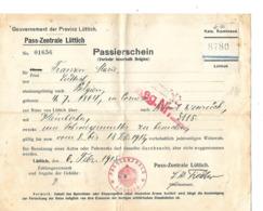 Militaria - Liège - Pass-Zentrale Lüttich - ¨Passierschein - Femme Née En 1864 - Fait En Février 1915 - Sonstige