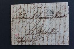 1815,LAC PARIS POUR LA ROCHELLE MARQUE P DANS UN TRIANGLE NOIR OUVERT TAXE MANUSCRITE 7 DECIMES DATEE DU 17 AOUT 1815 - 1801-1848: Precursores XIX