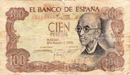 "Spain 100 PESETAS 1970 G P-152a ""free Shipping Via Regular Air Mail (buyer Risk)"" - [ 3] 1936-1975 : Régimen De Franco"