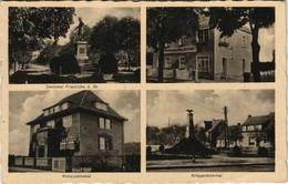 Neutrebbin 4 Bild: Denkmal, Geschäft, Sparkasse, Kriegerdenkmal 1935 - Deutschland