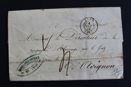 1849,LSC LYON CIE DU GAZ  CAD DU 04/10/1849 POUR AVIGNON CAD ARRIVEE DU 05/10/1849 TAXE MANUSCRITE.. - 1849-1876: Periodo Clásico