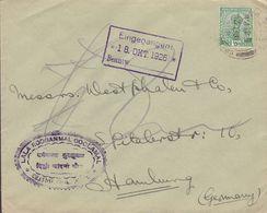 British India LALA ROOGANMAL GOOLAMAL, CHANDNI CHOWK, DELHI 1926 Cover Brief HAMBURG Germany ½ Anna George V. Stamp - India (...-1947)