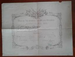 Diplôme Prix De Tir Offert Par Les Officiers 91 éme Régiment D'infanterie 1891 à Mr Bigeard à Mézières - Diplômes & Bulletins Scolaires