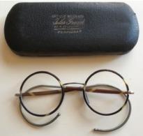 LUNETTES RONDES + ETUI - CORNE & METAL DEBUT 1900 - OPTIQUE MODERNE JULES GRAND 12 RUE DE LA LOGE PERPIGNAN - Brillen
