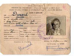 VP17.178 - ANTONY 1958 - RF - Ministère De L'Agriculture - Carte D'Identité - Mme DROUARD Née à MUSSY SUR SEINE - Maps