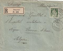 Lettre Chargée De TREYVAUX Pour L'Algérie. - Suiza