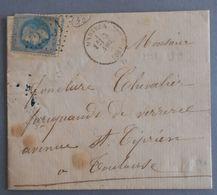 EMPIRE LAURE 29 SUR LETTRE DE MARTRES A TOULOUSE DU 3 NOVEMBRE 1869 (GROS CHIFFRE 2251) - 1849-1876: Période Classique