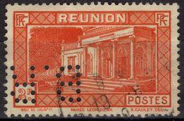 REUNION 144 (o) PERFORE B.R. Perfin Lochung Musée Louis DIERX à Saint-Denis RARE - Réunion (1852-1975)