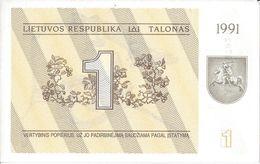 LITUANIE - 1 Talonas 1991 - UNC - Litauen