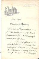 LETTRE . CHATEAU DE BROCHON . CHEVREY CHAMBERTIN . CONDOLEANCES A EMILE LOUBET - Documenti Storici
