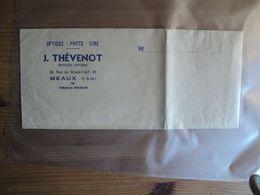 VIEUX SACHET PAPIER J. THEVENOT. 30 RUE DU GRAND CERF A MEAUX. 77 OPTIQUE. PHOTO. CINE. OPTICIEN DIPLOME. ANNEES 60 - Documentos Antiguos
