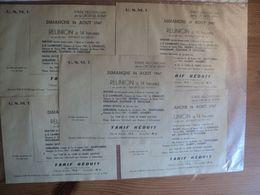 LOT DE 5 VIEUX TICKETS DU STADE VELODROME DE LA CROIX DE BERNY. 24 AOUT 1947 USMT. REUNION CYCLISTE AU PROFIT DES ENFAN - Tickets D'entrée