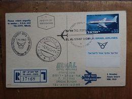 ISRAELE - Volo Speciale Tel Aviv/Roma - Cartolina Viaggiata + Spese Postali - Posta Aerea