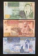 JORDAN SET 1, 5, 10 DINARS BANKNOTES 2002-2007 UNC - Jordania