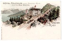 Rigi Staffel Schwyz Gruss Aus Hotel Felchin 1903 état Superbe - SZ Schwyz