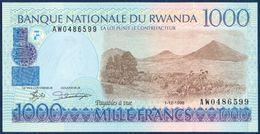 RWANDA 1000 FRANCS P-27b Karisimbi And Visoke Volcanoes (Virunga Volcano Range) - Cattle 1998 UNC - Rwanda
