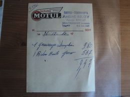 GARAGE TRANSPORTS ANDRE MUZY A MONTCORNET. AISNE. 1960. FACTURE AGENCE RENAULT / LES HUILES MOTUL - Automobile