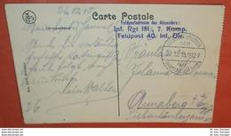 DEUTSCHES REICH I. WK Feldpost 27.12.1915 - Postcard AK Vallée De L'Ourthe - Brief Cover (2 Foto)(137155) - Duitsland