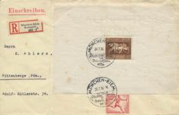 Deutsches Reich Block 4+613 Auf R-Brief Sonderstempel Senkr. Gefaltet - Blocks & Kleinbögen