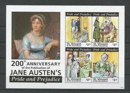 St Vincent 2013 Jane Austen Sheet 2  Y.T. 5740/5743 ** - St.Vincent (1979-...)