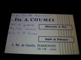 Publicité Carte De Représentant Ets Coumes Chaussures En Gros Dépôt De Fabrique à Narbonne Année ,? - Maps