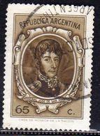 ARGENTINA 1970 1973 GENERAL JOSE DE SAN MARTIN 1971 GENERALE CENT. 65c USATO USED OBLITERE' - Usati