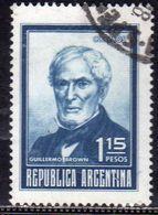 ARGENTINA 1970 1973 1971 GUILLERMO BROWN PESOS 1.15p USATO USED OBLITERE' - Usati