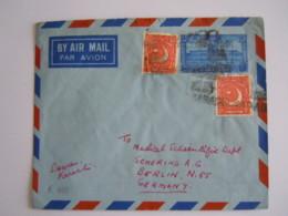 Pakistan Stationary Cover Entier Postal Enveloppe Par Avion 10as + Yv 49 Karachi To Berlin - Pakistan
