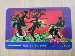 ST LUCIA    $ 20   CABLE & WIRELESS  STL-19A  19CSLA      JAZZ FESTIVAL 1995  Fine Used Card ** 2419** - Sainte Lucie