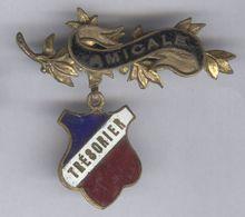 Broche Métal Et émail - Badge De Trésorier D'une Amicale - Bon état - Bijoux & Horlogerie