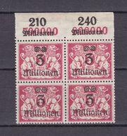 Danzig - 1923 - Michel Nr. 166 P OR Viererblock - Postfrisch - 45 Euro - Dantzig