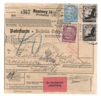 1939 BULLETIN D'EXPEDITION / PAKETKARTE  HAMBURG A TROSSINGEN / LUFTPOST C535 - Deutschland