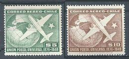 Chili Poste Aérienne YT N°126/127 Union Postale Universelle Neuf ** - Chile