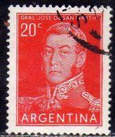 ARGENTINA 1954 1959 1955 JOSE DE SAN MARTIN CENT. 20c USATO USED OBLITERE' - Argentina