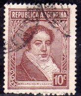ARGENTINA 1935 1951 BERNARDINO RIVADAVIA 1942 CENT. 10c USATO USED OBLITERE' - Argentina