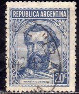 ARGENTINA 1935 1942 MARTIN GUEMES CENT. 15c USATO USED OBLITERE' - Argentina