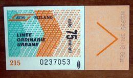 ITALIA Ticket  Bus Metro ATM Milano Biglietto  Con Filigrana - Europe
