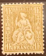 Schweiz Suisse 1862: Sitzende Helvetia Assis Zu 36 Mi 28 Yv 41 - 1Fr. Gold - Or * Falzspur MLH (Zu CHF 30.00 Für *) - 1862-1881 Helvetia Sentada (dentados)