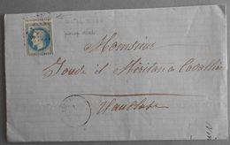 EMPIRE LAURE 29 SUR LETTRE DE VEZENOBRES A CAVAILLON DU 1 JANVIER 1869 (GROS CHIFFRE 4176) - 1849-1876: Période Classique