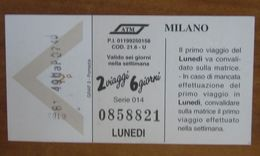 ITALIA Ticket  Bus Metro ATM Milano 2 Viaggi Lunedì/Martedì Biglietto - Europe