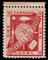 ✔️ Tierra Del Fuego Vuurland 1891 - 10 Centavos Iulio Popper Local Issue - Michel I - MNH ** - €120 - Francobolli